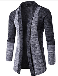 cheap -Men's Daily Going out Casual Regular Cardigan,Color Block Long Sleeves Cotton Winter Spring Fall Medium Micro-elastic