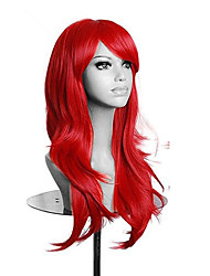 cheap -High Quality Red Long Wavy Women Wig Synthetic Lolita Cosplay Wigs 5 Colors