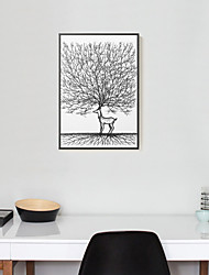 Fantasia Decorazioni da parete in 3D Stampe con cornice Tele con cornice Set con cornice Decorazioni da parete,Legno Materiale Nero