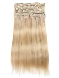 baratos -9pcs / set deluxe p18 120g / 613 de piano loira grampo de cabelo balayage em extensões do cabelo 16inch 20inch 100% cabelo humano em linha reta