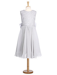 cheap -Ball Gown Knee Length Flower Girl Dress - Lace Organza Sleeveless Jewel Neck with Bow(s) Lace Sash / Ribbon by LAN TING BRIDE®