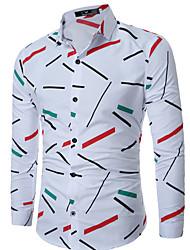 cheap -Men's Daily Work Plus Size Casual Spring Fall Shirt,Solid Print Color Block Shirt Collar Long Sleeves Cotton Medium