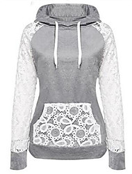 cheap -Women's Long Sleeves Cotton Hoodie - Solid, Lace