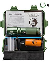 Недорогие -U'King Светодиодные фонари Светодиодная лампа Cree® XM-L T6 излучатели 2000 lm 5 Режим освещения с батареей и зарядным устройством Масштабируемые Фокусировка