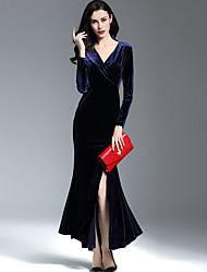 Women's Velvet Plus Size Formal Sophisticated Sheath Dress,Solid Split V Neck Maxi Knee-length Long Sleeve Polyester Blue Red Spring Mid Rise