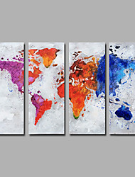 cheap -Hand-Painted  Abstract Vertical Modern Four Panels Canvas  Oil Painting The map For Home Decoration