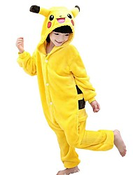 Kigurumi Pajamas Pika Pika Onesie Pajamas Costume Polar Fleece Yellow Cosplay For Kid Animal Sleepwear Cartoon Halloween Festival /