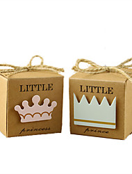 cheap -50pcs Princess/Prince Kraft Paper Candy Box Gift Box Baby Shower