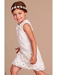 cheap -Sheath / Column Knee Length Flower Girl Dress - Organza Sleeveless Jewel Neck with Applique by YDN