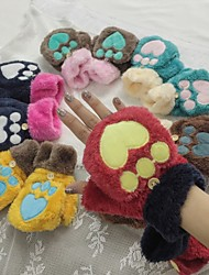 Sign gloves female models Korean students half-finger mitts cute cartoon couple warm winter plus velvet thick