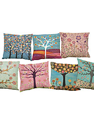 cheap -Set of 7 European fashion tree pattern Linen  Cushion Cover Home Office Sofa Square  Pillow Case Decorative Cushion Covers Pillowcases