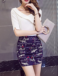 Bodycon Print Knitting Skirts,Casual/Daily Simple Mid Rise Above Knee Zipper Polyester Stretchy Spring Summer