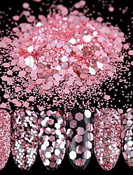 10ml Nail Glitter Powder Sequins Rose Pink Paillette Tips Decoration 1/2/3mm