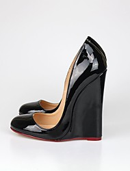 cheap -Women's Shoes PU(Polyurethane) Spring / Fall Club Shoes Heels Wedge Heel Round Toe Black / Red / Nude / Party & Evening / Party & Evening