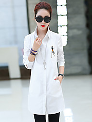 Women's long-sleeved shirt and long sections Slim casual jacket spring 2017 new autumn Korean version of white shirt
