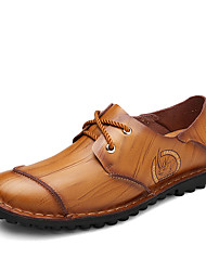 preiswerte -Herrn Schuhe Leder Frühling Herbst Komfort Sneakers Walking Schnürsenkel für Sportlich Normal Büro & Karriere Schwarz Gelb Rot