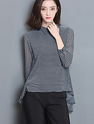 cheap -Women's Going out Casual Spring Summer Blouse,Striped Shirt Collar Long Sleeves Polyester Medium