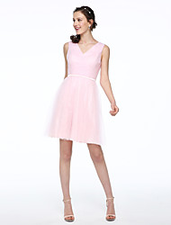 Ball Gown V-neck Short / Mini Tulle Bridesmaid Dress with Sash / Ribbon Pleats by LAN TING BRIDE®