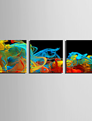 cheap -E-HOME Stretched Canvas Art Color Smoke Wonders Decoration Painting Set Of 3