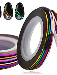cheap -10pcs/set Hot 1mm Mixed Colors Nail Art Foil Stripping Tape Line DIY Nail Beauty