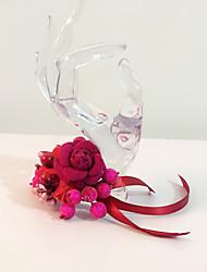 Brudebuketter Håndbundet Roser Rose I Revers Bryllup Fest & Aften Bomuld Tørrede Blomster Rhinsten