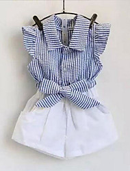 Girls' Daily Striped Clothing Set,Cotton Summer Sleeveless Ruffle Stripes Blue Red