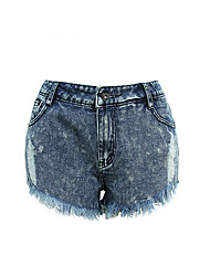 European stations in Europe and America the new hole in the cat to be irregular edge denim shorts shorts waist pants