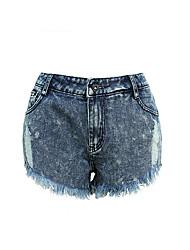 europäischen Stationen in Europa und Amerika die neue Loch in der Katze zu unregelmäßigen Rand Jeans-Shorts Taillenhosen kurzschließt