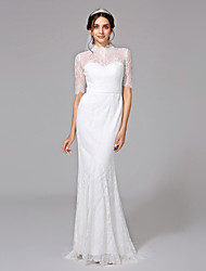 cheap -Mermaid / Trumpet Illusion Neckline Sweep / Brush Train Lace Wedding Dress with Sash / Ribbon Button by LAN TING BRIDE®