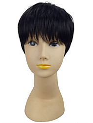 cheap -Black Color  Short Straight  Synthetic Wigs Woman Classical Hair Styles for Dailiy Life