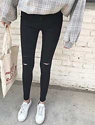 registe calça jeans buracos versão feminina da Coréia era magro preto pés-calça lápis calças stretch apertado