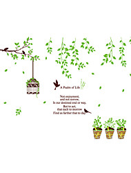 Wall Stickers Wall Decals Style Birdcage on The Green Branch PVC Wall Stickers