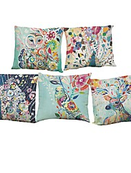 "Set of 5 Watercolor Peacock Flowers And Birds Printing Linen Cushion Cover (18""*18"")"