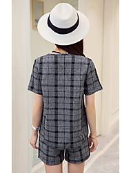 2017 forår og sommer kvinder&# 39; s plaid skjorte + shorts damer små duftende vind slanke afslappet mode jakkesæt