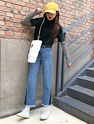 Segno laterale nett del triangolo jeans blu scuro retrò colore di periodo di vita alta lana frangia diritta collant