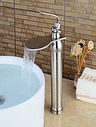 Moderne Set de centre Jet pluie Soupape céramique Mitigeur un trou Nickel brossé , Robinet lavabo