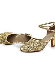"cheap -Women's Latin Leatherette Sandal Heel Performance Buckle Cuban Heel Gold Black Silver 2"" - 2 3/4"" Customizable"