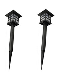 cheap -2PCS Retro Outside Land Stake Light Waterproof Solar Lawn Lamps Spotlight LED Path Hallway Lantern Outdoor Garden Backyard Lighting