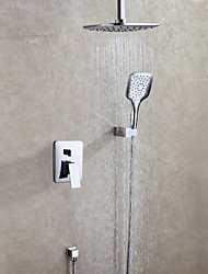 Bathroom Shower Faucet Set With Hot And Cold Mixer Valve / Hand Shower and Rain Shower Head Included / Contemporary / Chrome