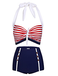 Muairen® Women'S Han Edition New Fashionable Stripe Navy Wind High Waist Swimsuit