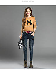 Sign flocking embroidery elastic waist jeans autumn female trousers pants feet wide Song Halun pants students