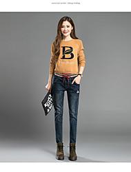 unterzeichnen Stickerei elastischer Taillenjeans Herbst weibliche Hose Hosen Meter breite Song Halun Hosen Studenten Beflockung