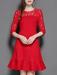 cheap -Women's Plus Size Going out Cotton Lace Dress - Solid Colored Lace