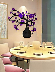 Blomster Vægklistermærker 3D mur klistermærker Dekorative Mur Klistermærker,Glas Materiale Hjem Dekoration Vægoverføringsbillede