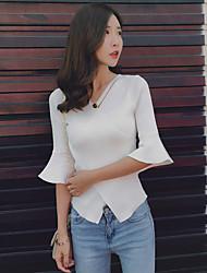 nuovo temperamento coreano moda camicetta 2017 estate maglia con scollo a V manicotto del corno sottile croce femminile toccare il fondo