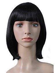 Short Bob Wig Synthetic Fiber Wig Straight Hairstyle Black For Women
