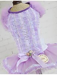 baratos -Cachorro Vestidos Roupas para Cães Princesa Roxo Azul Rosa claro Algodão Ocasiões Especiais Para animais de estimação Homens Mulheres