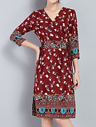 cheap -Women's Chic & Modern Tunic Dress - Floral V Neck
