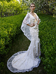 cheap -Mermaid / Trumpet Plunging Neckline Court Train Lace Wedding Dress with Sequin Flower by LAN TING BRIDE®