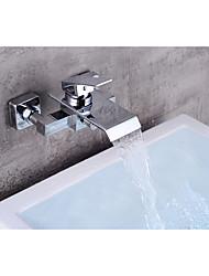 Недорогие -Смеситель для ванны - Современный Хром По центру Керамический клапан